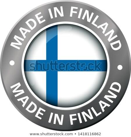 Metal odznakę ikona Finlandia banderą Zdjęcia stock © evgeny89