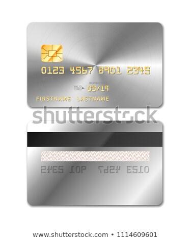 Platina realistisch creditcard beide witte geïsoleerd Stockfoto © evgeny89