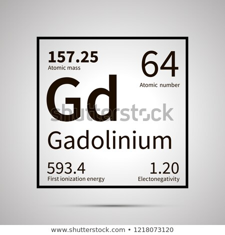 Gadolinium chemical element with first ionization energy, atomic mass and electronegativity values , Stock photo © evgeny89
