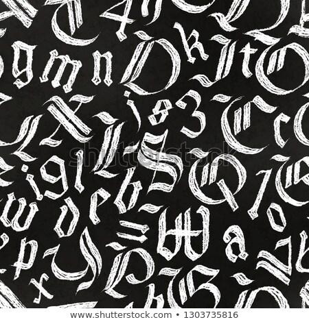 Hand gezeichnet gotischen Briefe Zeichnung weiß Kreide Stock foto © evgeny89