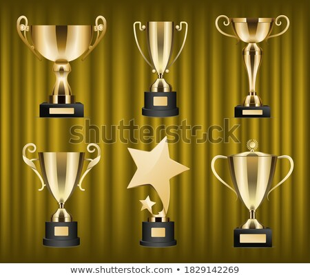 Champion Rewards and Awards on Red Curtain Set Stock photo © robuart