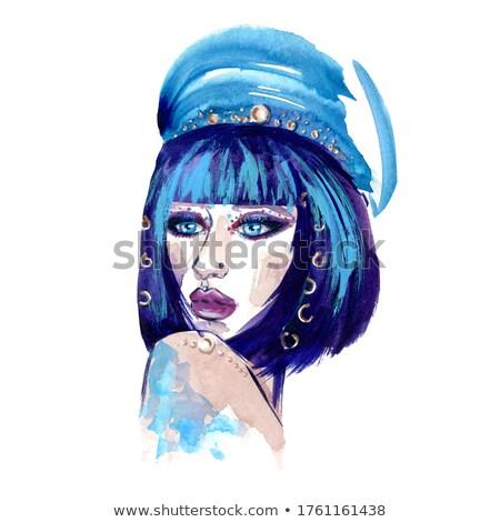 Zdjęcia stock: Biały · kobieta · glamour · modny · hat · twarz
