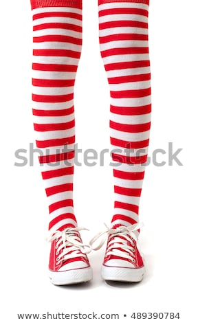 woman legs in color red and white socks isolated on white stock photo © nobilior