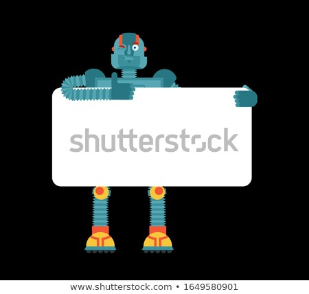Metal person holding blank sign. Stock photo © damonshuck