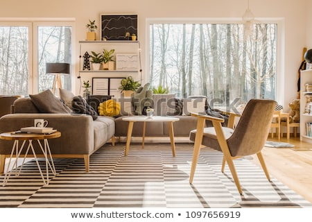 Confortable coin chambre bois meubles maison Photo stock © Fisher