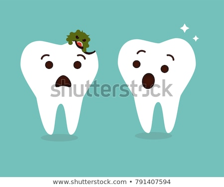Fun Faces On Healthy And Decayed Teeth caries Stock photo © adrian_n