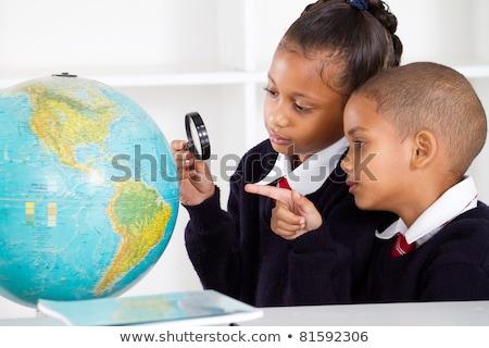Kettő diákok földrajz osztályterem nő iskola Stock fotó © photography33