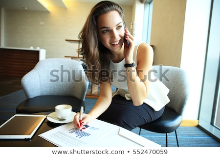 Happy woman phone in the office workplace Stock photo © pekour