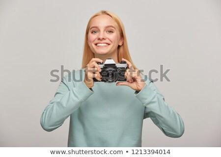 Stock fotó: Female Model On Photo Shoting In Studio