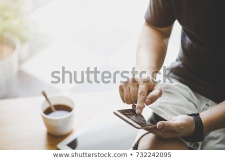 Stock fotó: Felső · kilátás · kezek · okostelefon