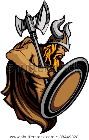 Viking Norseman Mascot Standing with Ax and Shield Vector Image Stock photo © chromaco