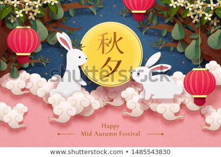 rabbit lantern looking the moon for the Moon Festival Stock photo © cozyta