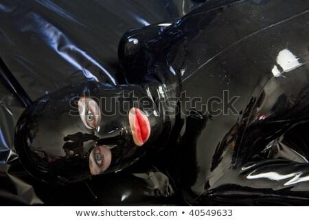 vrouw · latex · kleding · zwarte · alleen - stockfoto © phbcz