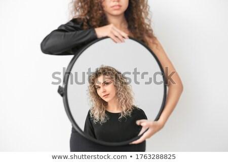 nő · gombok · felfelé · póló · kék · háttér - stock fotó © photography33