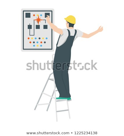electrician on a ladder having an electric shock Stock photo © photography33