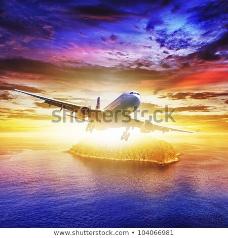 jet plane over the sea at sunset time square composition stock photo © moses