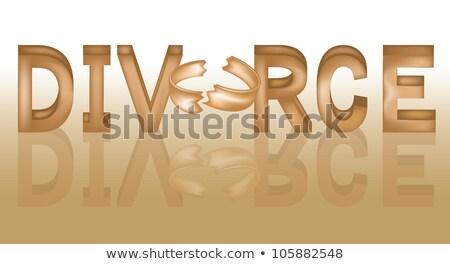Rozwód słowo podziale pierścień rodziny ślub Zdjęcia stock © carodi