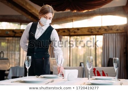 moderne · restaurant · tafel · bloemen · diner · Rood - stockfoto © vg