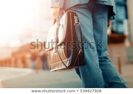 деловой · человек · портфель · Постоянный · белый · фон · бизнесмен - Сток-фото © feedough