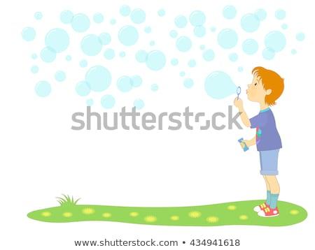 Kicsi fiú buborékfújás jókedv szín fej Stock fotó © photography33