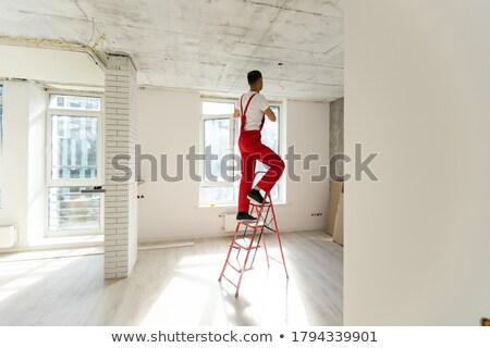 Tradesman standing on the steps of a stepladder Stock photo © photography33