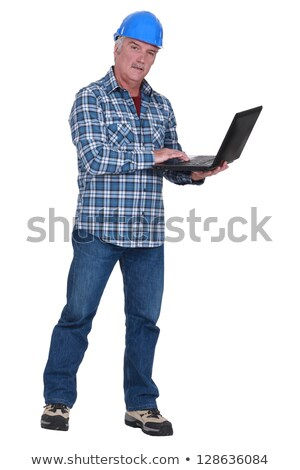 experienced tradesman embracing technology stock photo © photography33