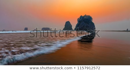 Silhouette of Sea Stack at Second Beach Stock photo © jaymudaliar