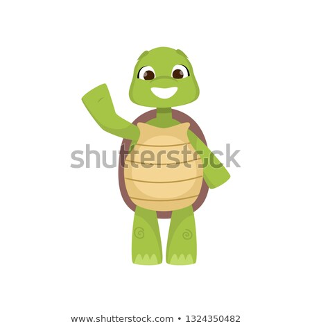 Turtle cartoon hand waving stock photo © dagadu