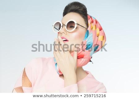 Rózsaszín lány fejkendő gyönyörű nő fehérnemű színes Stock fotó © carlodapino