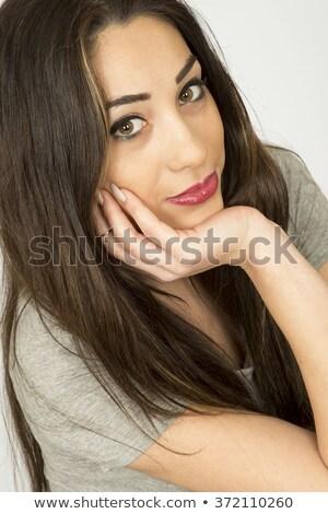 女性 黒い髪 茶色の目 肖像 孤立した ストックフォト © acidgrey