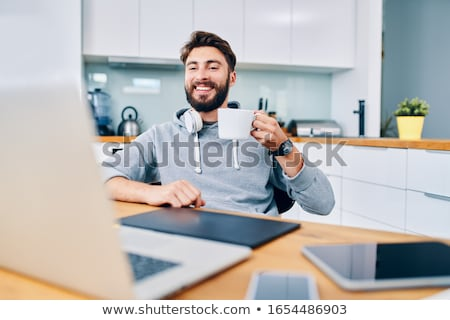 Coffee break with tablet and smartphones stock photo © adamr