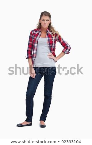 boos · vrouw · permanente · geïsoleerd · ontdaan · jonge - stockfoto © wavebreak_media