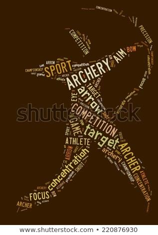 Boogschieten pictogram bruin logo tekst atleet Stockfoto © seiksoon