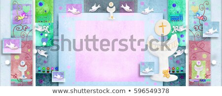 Holy Communion cards girl and blank space for writing Stock photo © marimorena