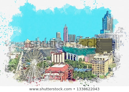 Atlanta · belváros · épületek · magas · víz · szökőkút - stock fotó © blamb