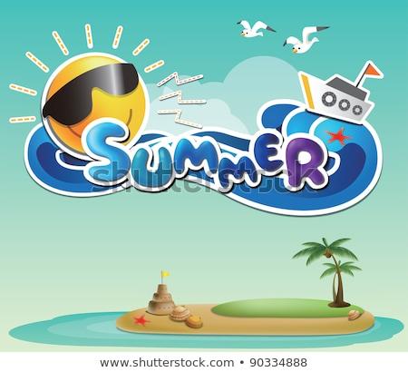 Summer card  Sand Castle on beach, vector illustration Stock photo © carodi