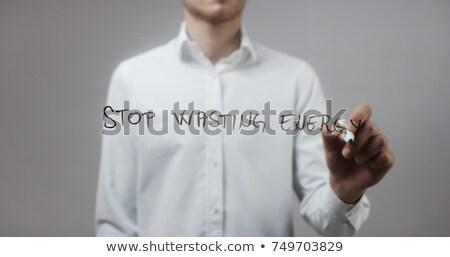 Stock fotó: Stop · energia · színes · szavak · iskolatábla · víz