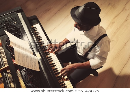 piyanist · gün · batımı · adam · doğa · konser · eğlence - stok fotoğraf © nirodesign