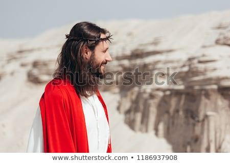 Yandan görünüş İsa Mesih ayakta adam boyama Stok fotoğraf © zzve