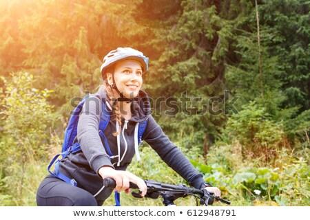 boldog · nő · kirándulás · napos · hegyek · természetjáró - stock fotó © anna_om