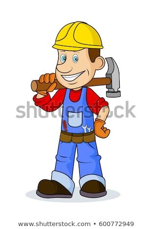 Belachelijk loodgieter grappig reparatie wasserij machine Stockfoto © ongap