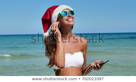 Сток-фото: женщину · Дед · Мороз · Hat · Солнцезащитные · очки