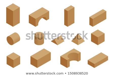 Kicsi fából készült tömbházak izolált tükröződés baba Stock fotó © michaklootwijk