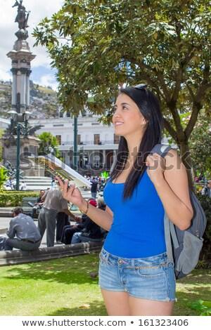 Fiatal nő turista történelmi óváros Ecuador nő Stock fotó © pxhidalgo
