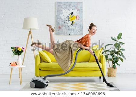 魅力的な 主婦 真空掃除機 肖像 ホーム リビングルーム ストックフォト © dukibu