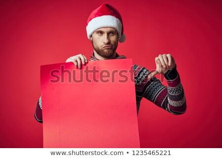 Noel baba eller aşağı beyaz yüz adam Stok fotoğraf © fotoatelie