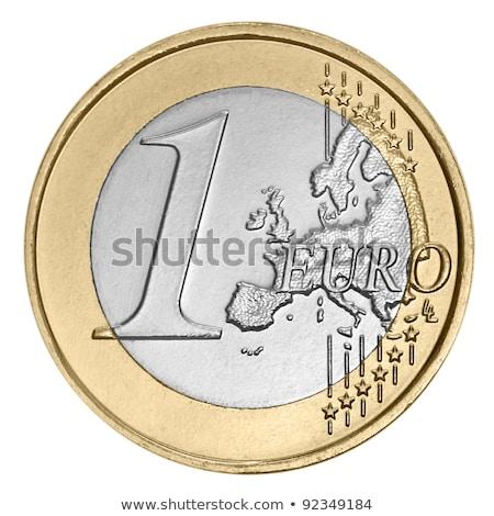 Stock fotó: Egy · Euro · érme · fotó · kék · háttér