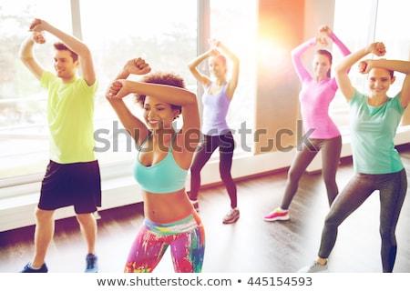 Stockfoto: Fitness · zumba · dans · opleiding · gymnasium · jongeren