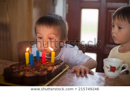 boy blows out his birthday candles at his birtday Stock photo © meinzahn