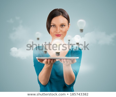 woman sharing her idea using tablet computer stock photo © hasloo
